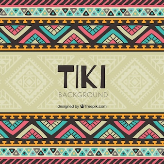 Tiki sfondo con disegno tribale colorato