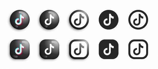 Tiktok 3d moderno e set di icone piane