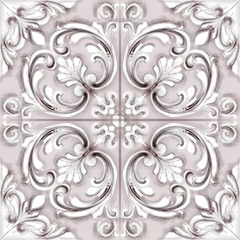 Tile o mosaico ornamento acquerello