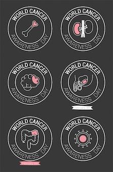 Timbri con sigillo della giornata mondiale del cancro