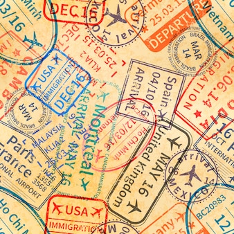 Timbri di gomma di visto di viaggio internazionale