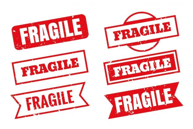 Timbri di gomma fragili in diversi stili impostati