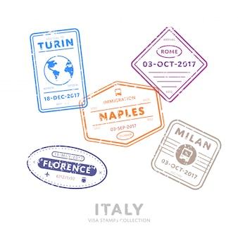 Timbri di visto per viaggi internazionali.