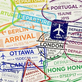 Timbro del passaporto del visto di viaggio business internazionale.