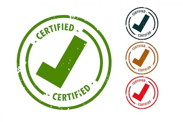 Timbro di gomma certificato segno di spunta design set
