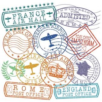 Timbro di qualità del passaporto postale dell'europa mix