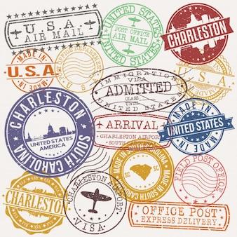 Timbro di qualità del passaporto postale di charleston south carolina