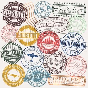 Timbro di qualità del passaporto postale di charlotte north carolina