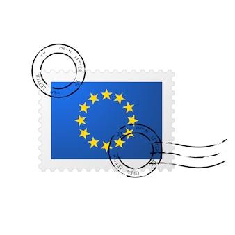 Timbro postale con bandiera dell'unione europea e francobollo