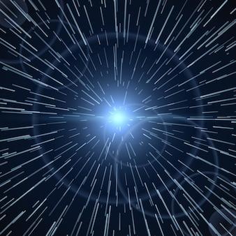 Time warp, luce brillante bianco sunburst illustrazione vettoriale
