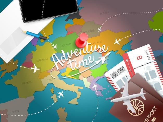 Timel di avventura. concetto di vacanza con accessori