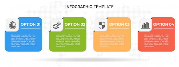 Timeline di elementi moderni infografica 4 opzioni.