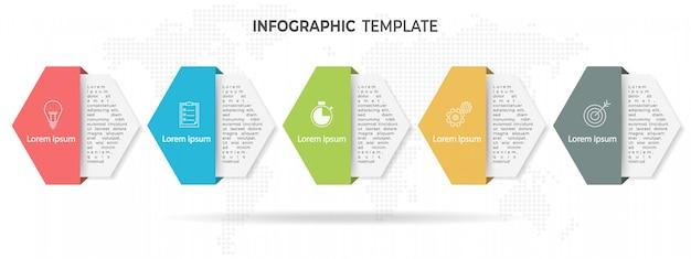 Timeline di esagono moderno infographic 5 opzioni.