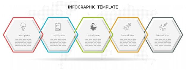 Timeline di esagono moderno infographic 6 opzioni.