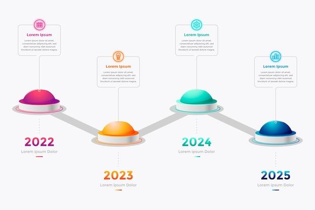 Timeline di gradiente colorato infografica