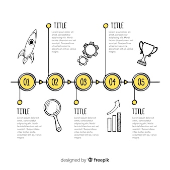 Timeline di infografica disegnata a mano