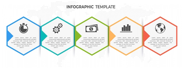 Timeline hexagon infographic template 5 opzioni o passaggi.