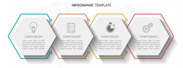 Timeline infografica 4 opzioni esagonali.