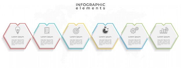 Timeline infografica 6 opzioni esagonali.