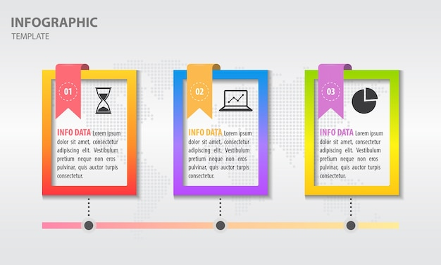 Timeline infografica con cornice e nastro