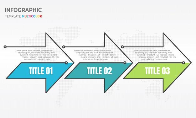 Timeline infografica freccia sottile linea 3 opzioni.