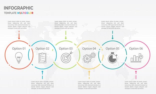 Timeline infografica linea sottile design, circle 6 opzioni.