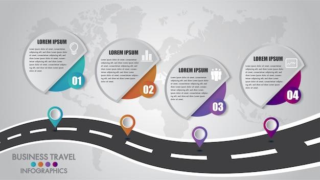 Timeline infografica modello 4 opzioni di progettazione con un modo di strada e puntatori di navigazione