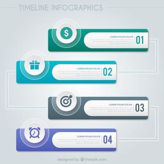 Timeline infografica set