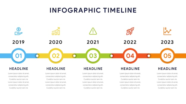 Timeline infographic elements con cinque passaggi e diagramma