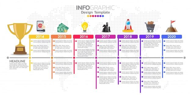 Timeline infographic modello di progettazione con opzioni di colore.