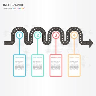 Timeline infographici con le opzioni della strada 4