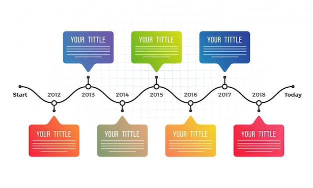 Timeline infographics layout con sette (7) gradini.