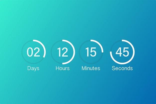 Timer contatore conto alla rovescia vettoriale. conto alla rovescia digitale app ui metro con diagramma a torta del tempo del cerchio.
