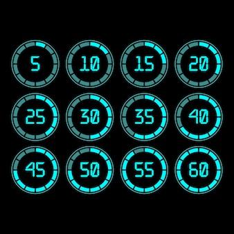 Timer digitale con conto alla rovescia con intervallo di cinque minuti in stile moderno.