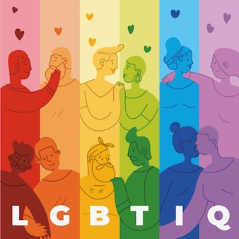 Tinta della bandiera di pride day con il fondo della gente