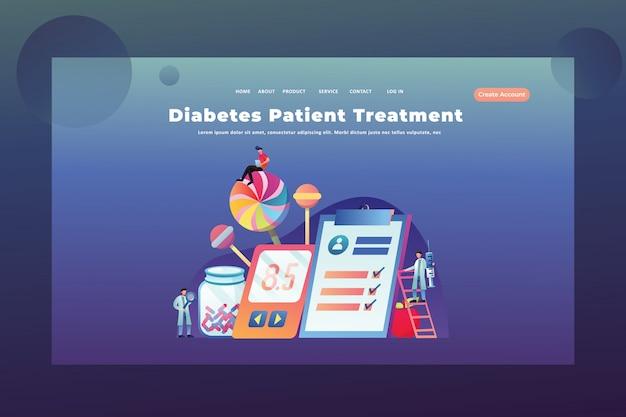 Tiny people concept trattamento del diabete nella pagina web dell'intestazione della pagina web medica e scientifica