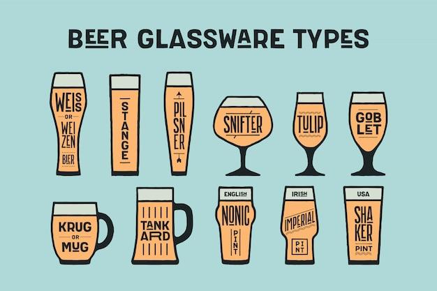Tipi di bicchieri di birra poster