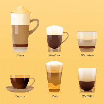 Tipi di caffè illustrazione concetto