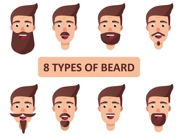 Tipi di capelli facciali barbe di taglio di capelli di variazioni. 8 tipi di barba. illustrazione vettoriale isolato