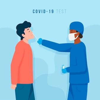 Tipi di coronavirus test medico e paziente