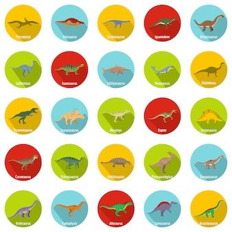 Tipi di dinosauro firmati nome set di icone, stile piatto