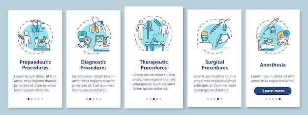 Tipi di procedure mediche onboarding schermata della pagina dell'app mobile con concetti