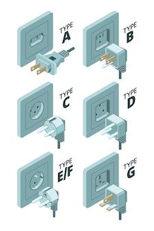 Tipi di spina di alimentazione. illustrazioni isometriche del tester 3d del connettore del contenitore di energia elettrica