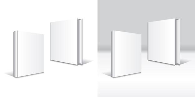 Tipi frontali bianchi vuoti del modello 2 del modello del libro dalla copertina rigida.