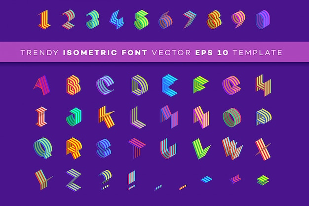 Tipo di carattere carta isometrica 3d.