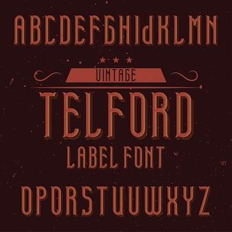 Tipo di carattere etichetta vintage denominato telford. buono da usare in qualsiasi etichetta creativa.