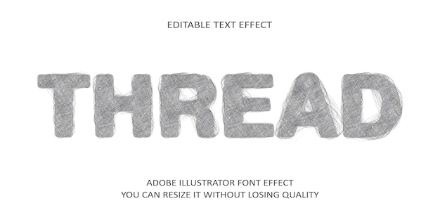 Tipo di carattere modificabile di testo vettoriale effetto filo