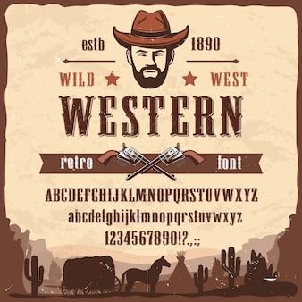 Tipo di carattere occidentale lettere in stile selvaggio west, numeri