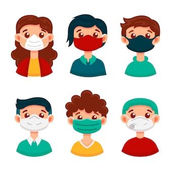 Tipo di concetto di maschere per il viso
