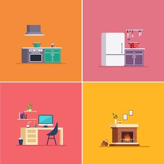 Tipo di interni. set di illustrazione